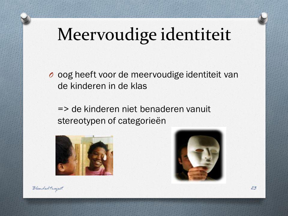 Meervoudige identiteit O oog heeft voor de meervoudige identiteit van de kinderen in de klas => de kinderen niet benaderen vanuit stereotypen of categorieën Blended traject23