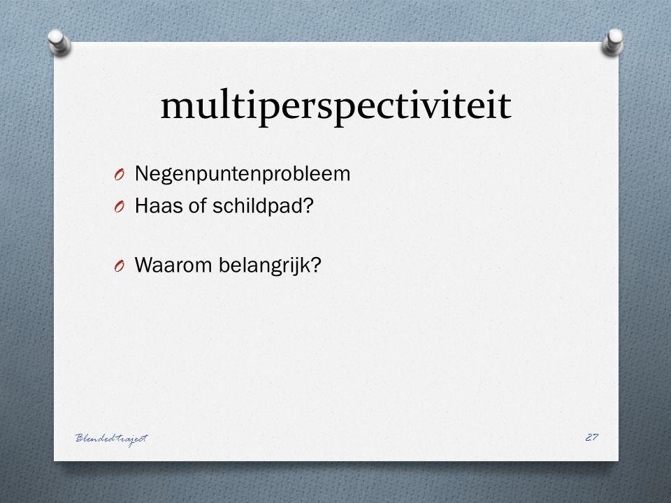 multiperspectiviteit O Negenpuntenprobleem O Haas of schildpad.