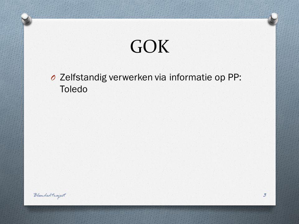 GOK O Zelfstandig verwerken via informatie op PP: Toledo Blended traject3