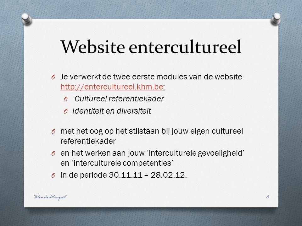 Website entercultureel O Je verwerkt de twee eerste modules van de website http://entercultureel.khm.be: http://entercultureel.khm.be O Cultureel referentiekader O Identiteit en diversiteit O met het oog op het stilstaan bij jouw eigen cultureel referentiekader O en het werken aan jouw 'interculturele gevoeligheid' en 'interculturele competenties' O in de periode 30.11.11 – 28.02.12.