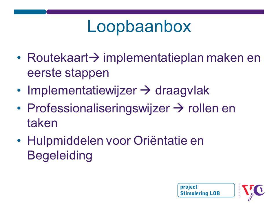 Loopbaanbox •Routekaart  implementatieplan maken en eerste stappen •Implementatiewijzer  draagvlak •Professionaliseringswijzer  rollen en taken •Hulpmiddelen voor Oriëntatie en Begeleiding