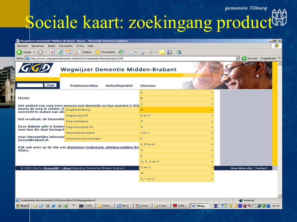 Sociale kaart: zoekingang product