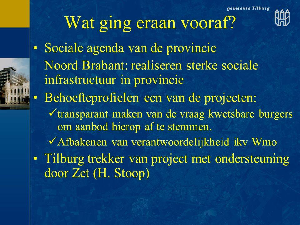 Wat ging eraan vooraf? •Sociale agenda van de provincie Noord Brabant: realiseren sterke sociale infrastructuur in provincie •Behoefteprofielen een va