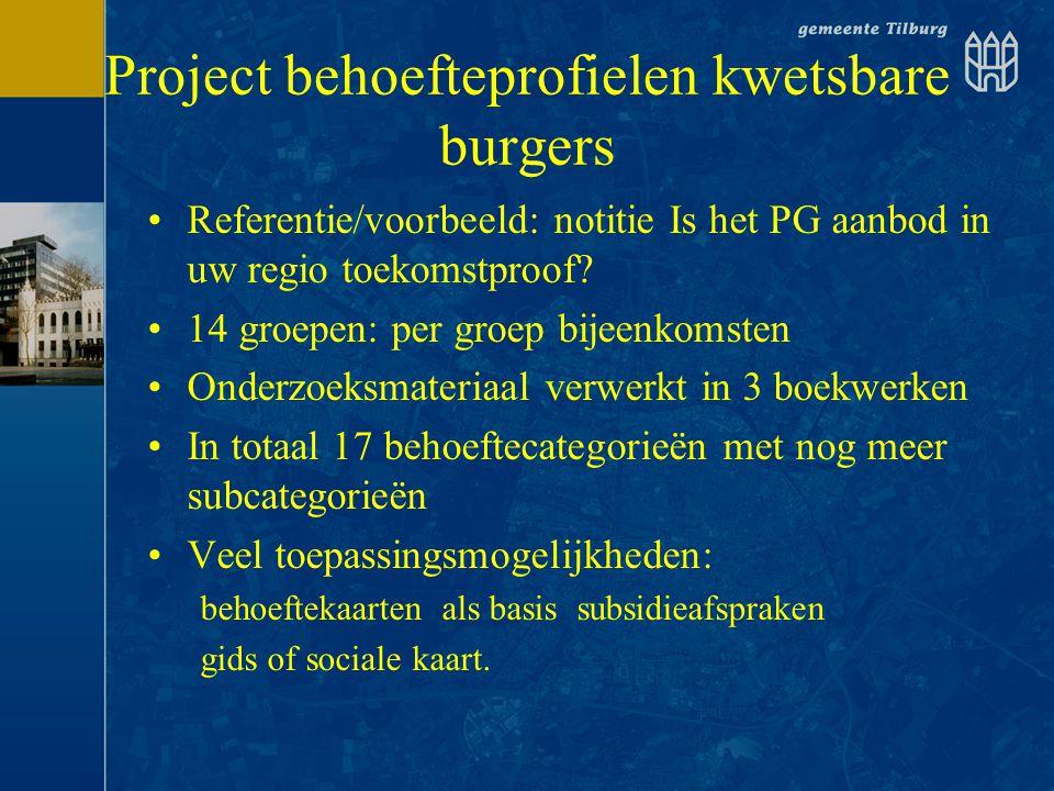 Project behoefteprofielen kwetsbare burgers •Referentie/voorbeeld: notitie Is het PG aanbod in uw regio toekomstproof? •14 groepen: per groep bijeenko