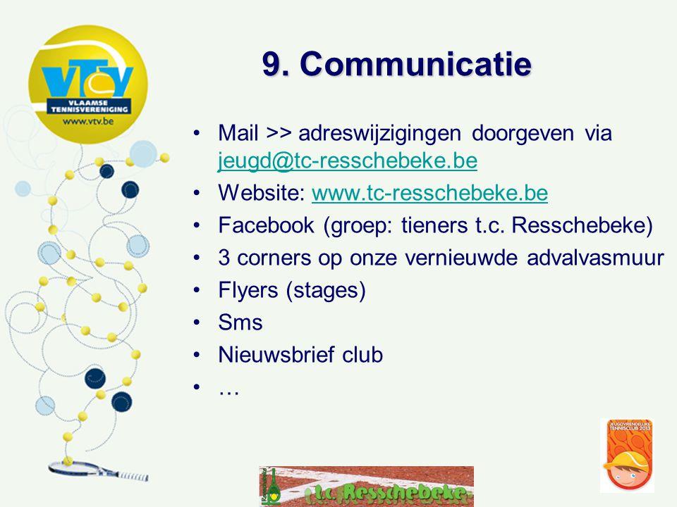 9. Communicatie •Mail >> adreswijzigingen doorgeven via jeugd@tc-resschebeke.be jeugd@tc-resschebeke.be •Website: www.tc-resschebeke.bewww.tc-resscheb