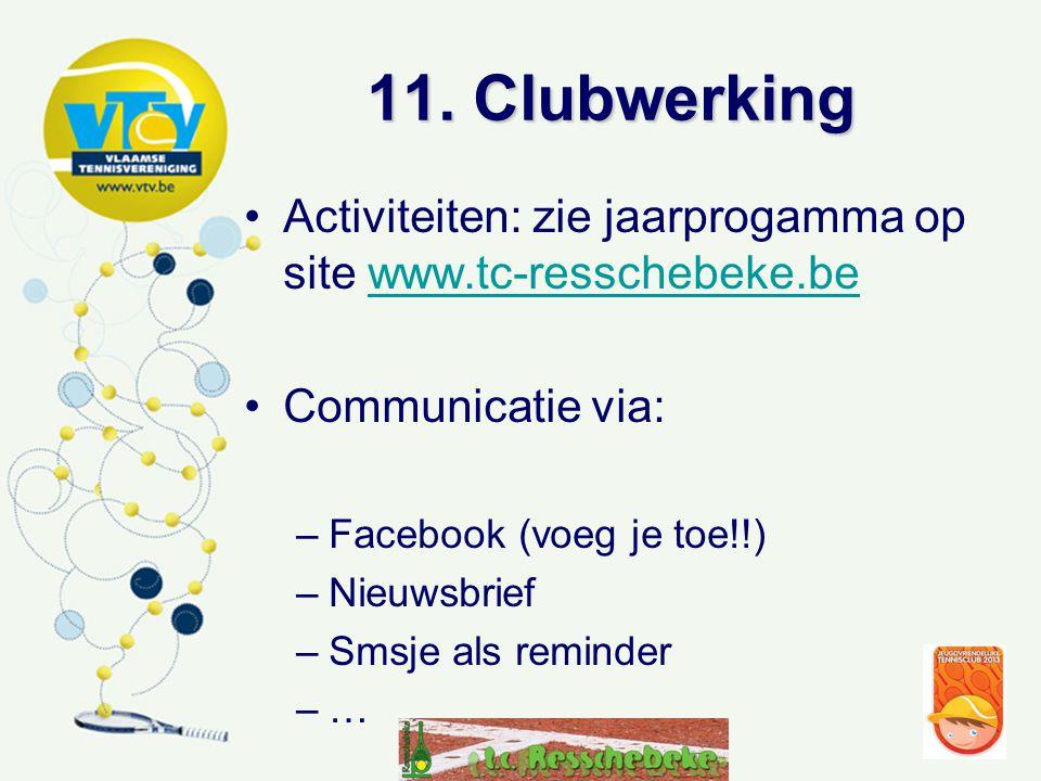 11. Clubwerking •Activiteiten: zie jaarprogamma op site www.tc-resschebeke.bewww.tc-resschebeke.be •Communicatie via: –Facebook (voeg je toe!!) –Nieuw