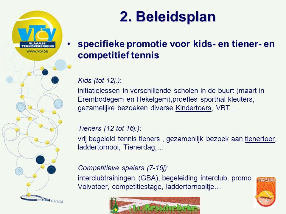 2. Beleidsplan •specifieke promotie voor kids- en tiener- en competitief tennis Kids (tot 12j.): initiatielessen in verschillende scholen in de buurt