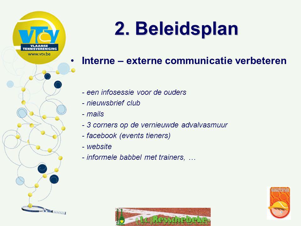 2. Beleidsplan •Interne – externe communicatie verbeteren - een infosessie voor de ouders - nieuwsbrief club - mails - 3 corners op de vernieuwde adva