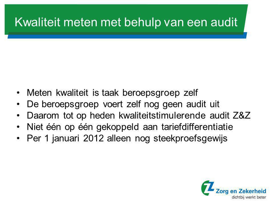 Kwaliteit meten met behulp van een audit •Meten kwaliteit is taak beroepsgroep zelf •De beroepsgroep voert zelf nog geen audit uit •Daarom tot op hede