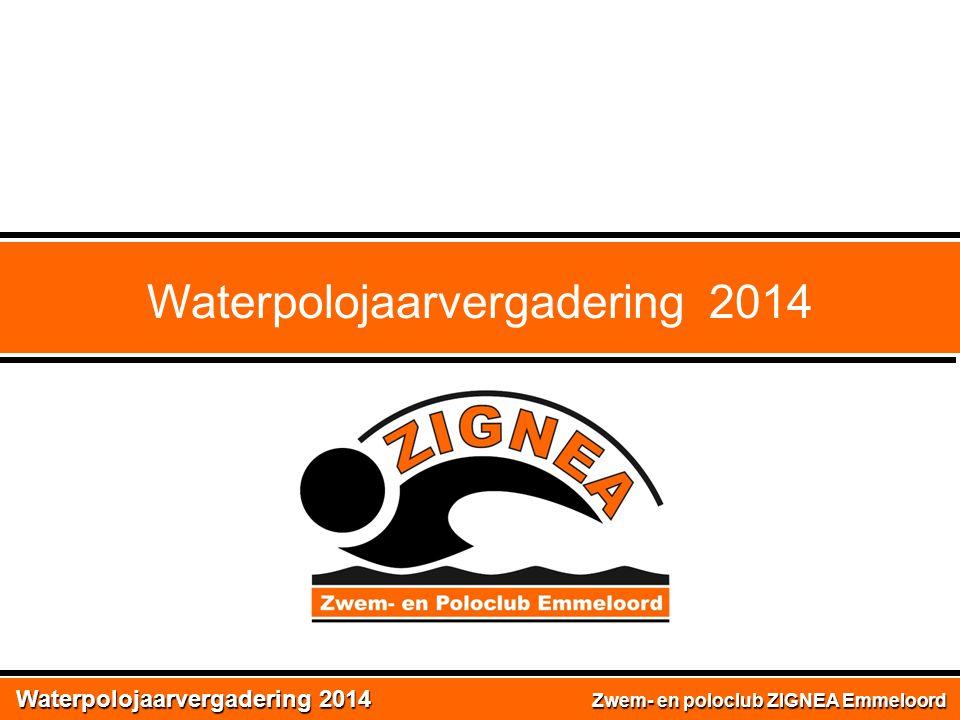 Waterpolojaarvergadering 2014 Zwem- en poloclub ZIGNEA Emmeloord Waterpolojaarvergadering 2014