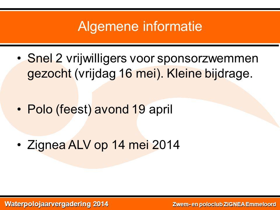 Waterpolojaarvergadering 2014 Zwem- en poloclub ZIGNEA Emmeloord Waterpolojaarvergadering 2014 Vragen.