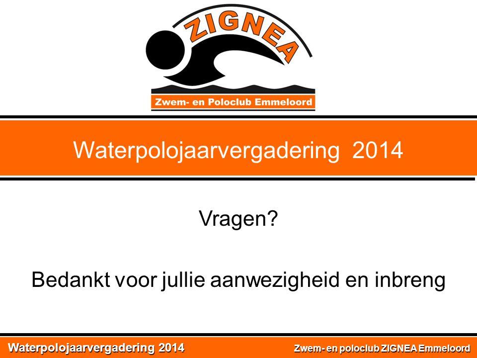 Waterpolojaarvergadering 2014 Zwem- en poloclub ZIGNEA Emmeloord Waterpolojaarvergadering 2014 Vragen? Bedankt voor jullie aanwezigheid en inbreng