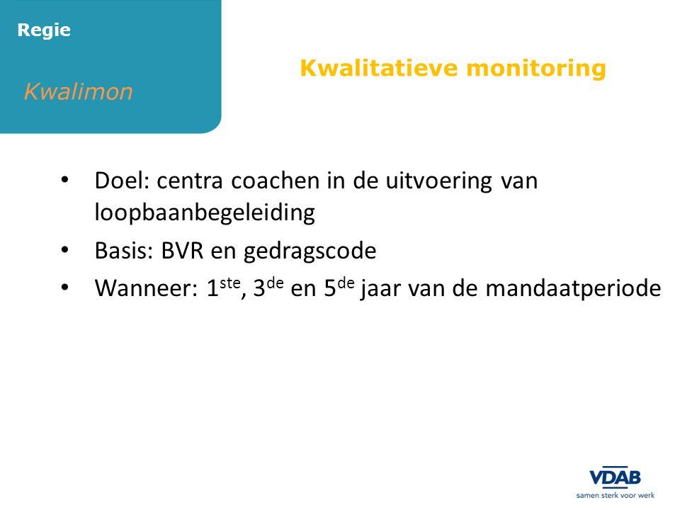 Kwalimon Regie Kwalitatieve monitoring • Doel: centra coachen in de uitvoering van loopbaanbegeleiding • Basis: BVR en gedragscode • Wanneer: 1 ste, 3