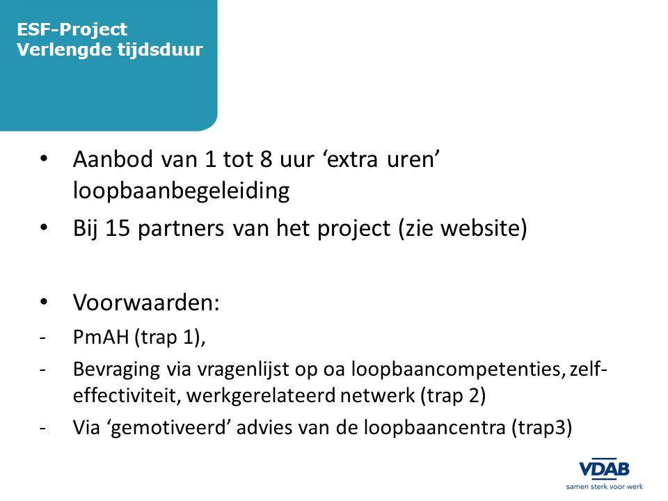 ESF-Project Verlengde tijdsduur • Aanbod van 1 tot 8 uur 'extra uren' loopbaanbegeleiding • Bij 15 partners van het project (zie website) • Voorwaarde