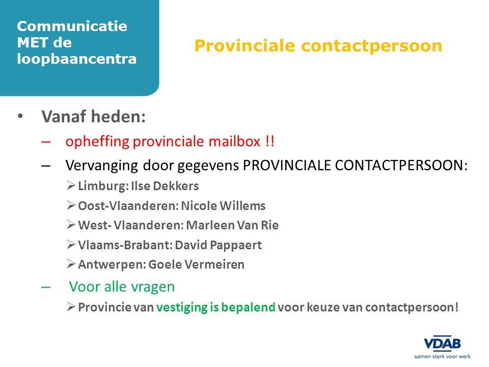 Provinciale contactpersoon • Vanaf heden: – opheffing provinciale mailbox !! – Vervanging door gegevens PROVINCIALE CONTACTPERSOON:  Limburg: Ilse De
