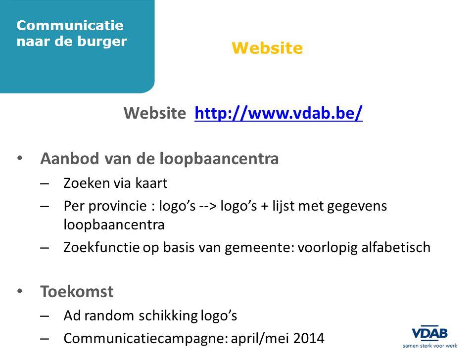 Website Website http://www.vdab.be/http://www.vdab.be/ • Aanbod van de loopbaancentra – Zoeken via kaart – Per provincie : logo's --> logo's + lijst m