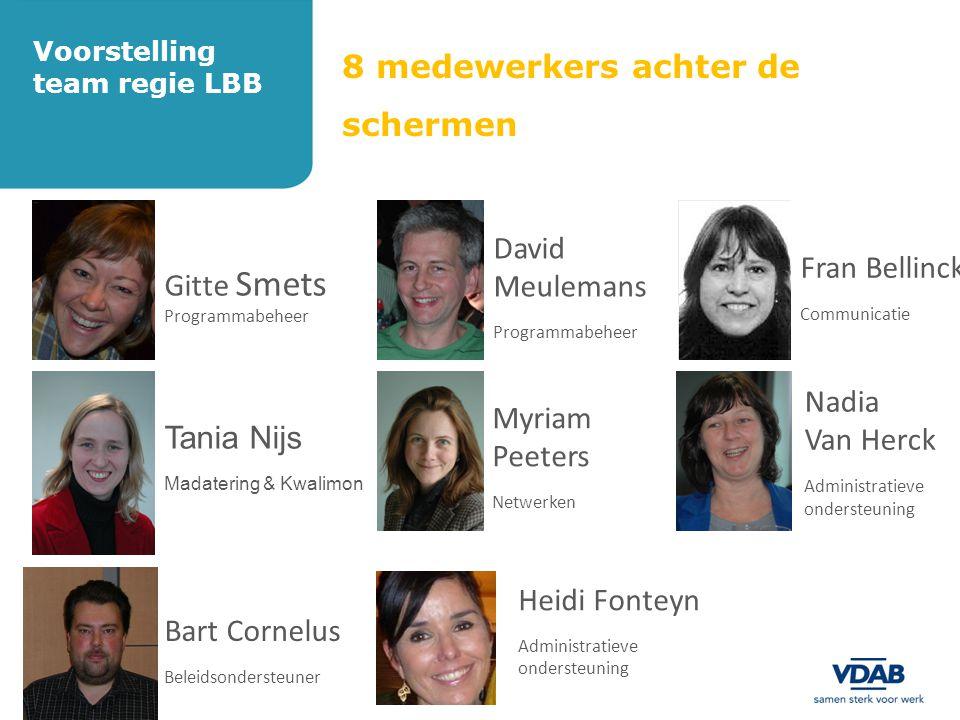 8 medewerkers achter de schermen Voorstelling team regie LBB Gitte Smets Programmabeheer David Meulemans Programmabeheer Fran Bellinck Communicatie Ta