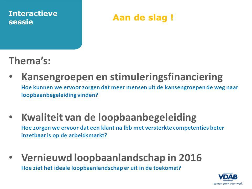 Aan de slag ! Thema's: • Kansengroepen en stimuleringsfinanciering Hoe kunnen we ervoor zorgen dat meer mensen uit de kansengroepen de weg naar loopba