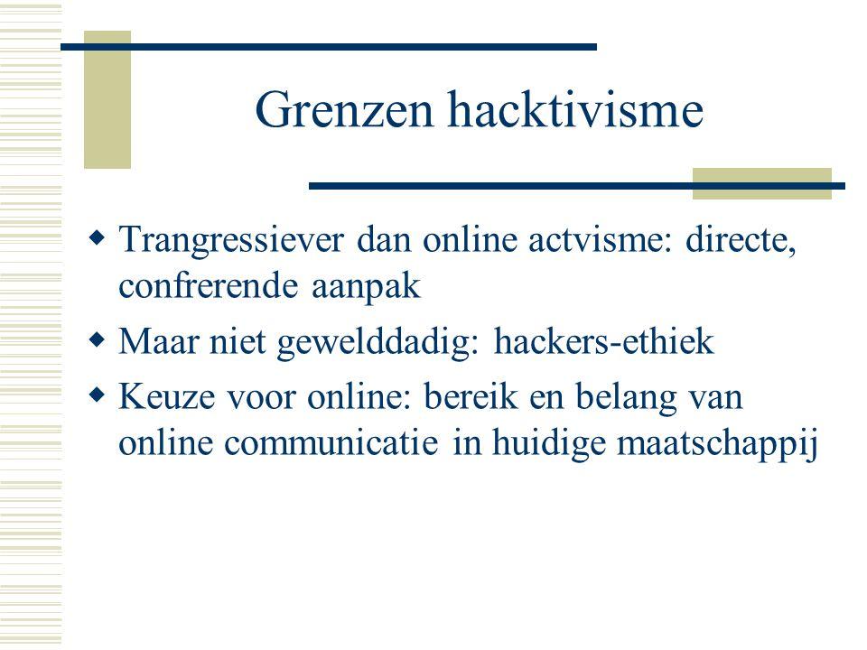 Grenzen hacktivisme  Trangressiever dan online actvisme: directe, confrerende aanpak  Maar niet gewelddadig: hackers-ethiek  Keuze voor online: ber