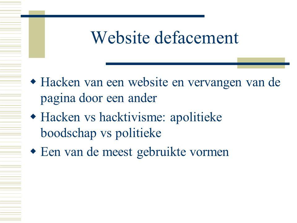 Website defacement  Hacken van een website en vervangen van de pagina door een ander  Hacken vs hacktivisme: apolitieke boodschap vs politieke  Een