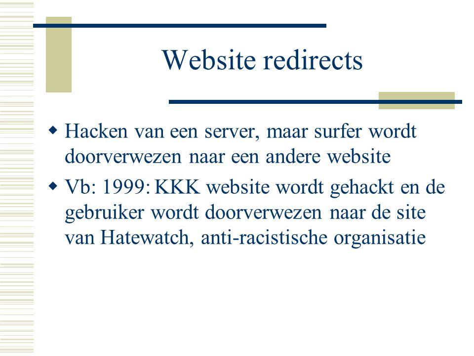 Website redirects  Hacken van een server, maar surfer wordt doorverwezen naar een andere website  Vb: 1999: KKK website wordt gehackt en de gebruike