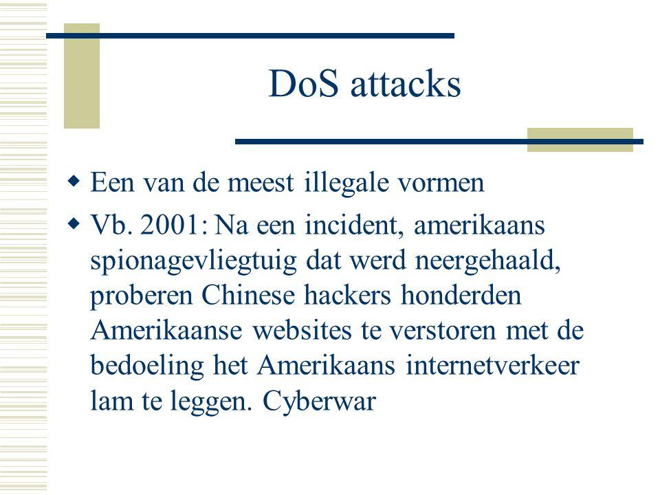 DoS attacks  Een van de meest illegale vormen  Vb. 2001: Na een incident, amerikaans spionagevliegtuig dat werd neergehaald, proberen Chinese hacker