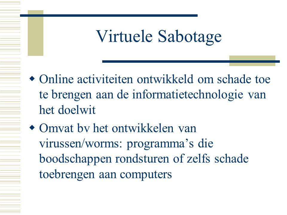 Virtuele Sabotage  Online activiteiten ontwikkeld om schade toe te brengen aan de informatietechnologie van het doelwit  Omvat bv het ontwikkelen van virussen/worms: programma's die boodschappen rondsturen of zelfs schade toebrengen aan computers