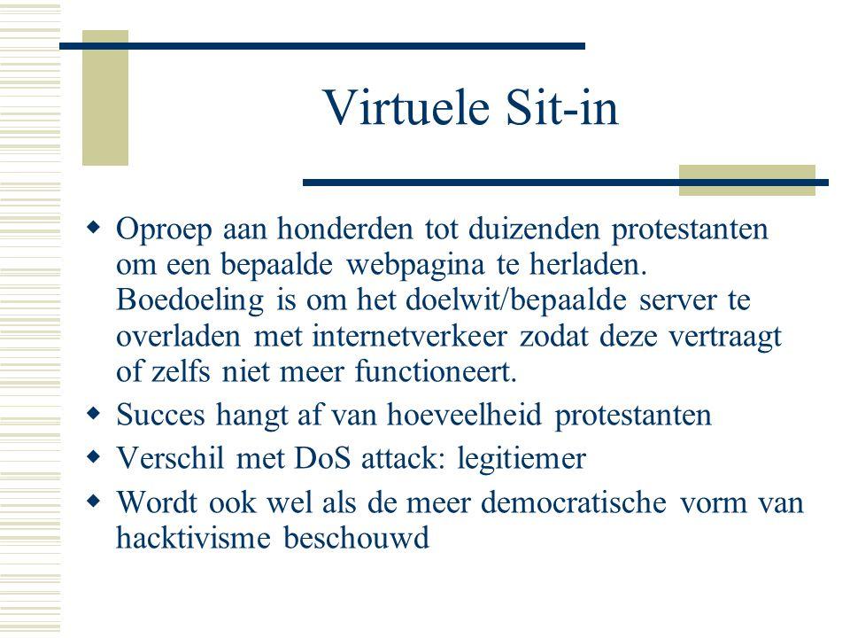Virtuele Sit-in  Oproep aan honderden tot duizenden protestanten om een bepaalde webpagina te herladen. Boedoeling is om het doelwit/bepaalde server