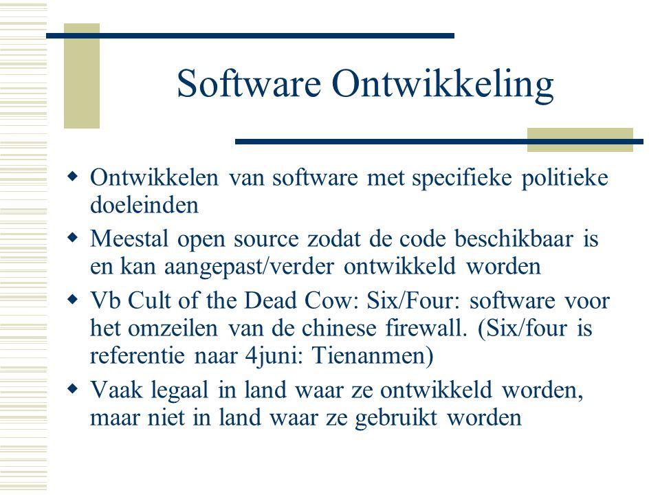 Software Ontwikkeling  Ontwikkelen van software met specifieke politieke doeleinden  Meestal open source zodat de code beschikbaar is en kan aangepast/verder ontwikkeld worden  Vb Cult of the Dead Cow: Six/Four: software voor het omzeilen van de chinese firewall.
