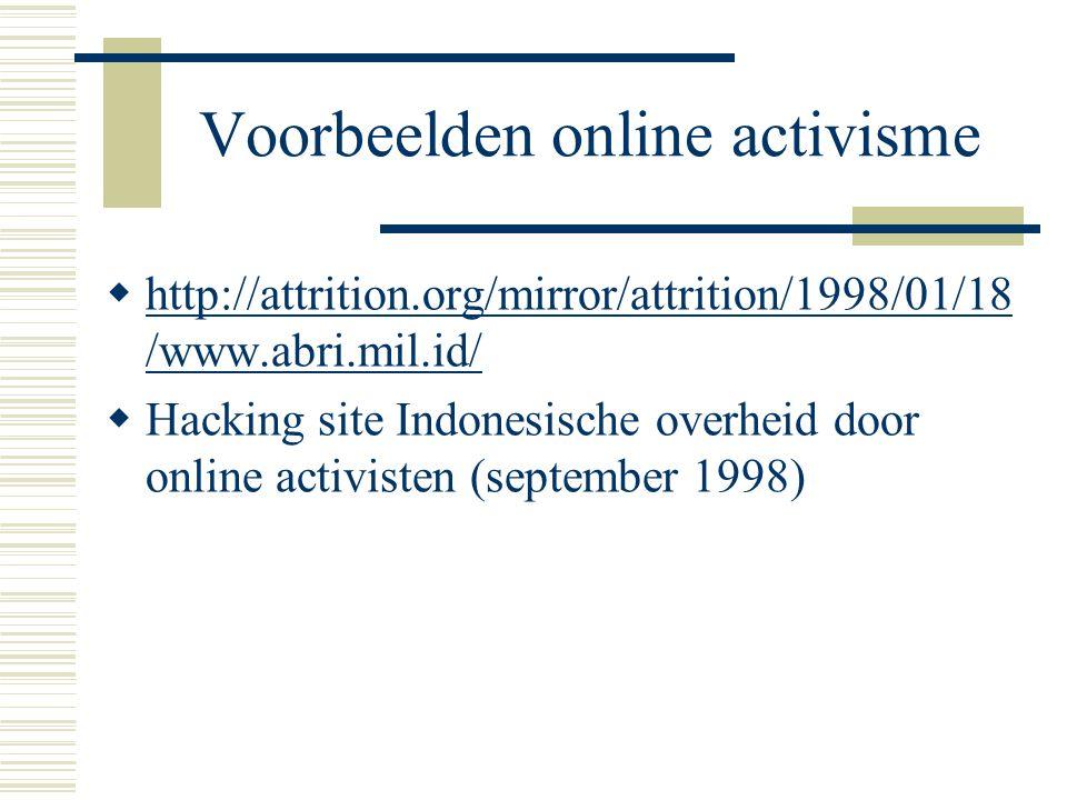 Voorbeelden online activisme  Februari 2003: Chinese surfers kunnen gecensureerde websites zoals CNN, NPR en Playboy.