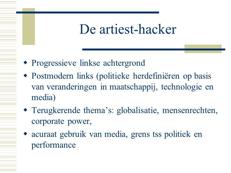 De artiest-hacker  Progressieve linkse achtergrond  Postmodern links (politieke herdefiniëren op basis van veranderingen in maatschappij, technologie en media)  Terugkerende thema's: globalisatie, mensenrechten, corporate power,  acuraat gebruik van media, grens tss politiek en performance