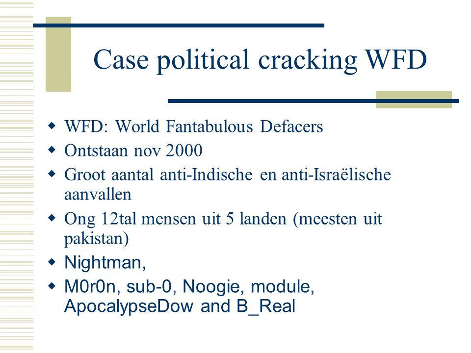 Case political cracking WFD  WFD: World Fantabulous Defacers  Ontstaan nov 2000  Groot aantal anti-Indische en anti-Israëlische aanvallen  Ong 12tal mensen uit 5 landen (meesten uit pakistan)  Nightman,  M0r0n, sub-0, Noogie, module, ApocalypseDow and B_Real