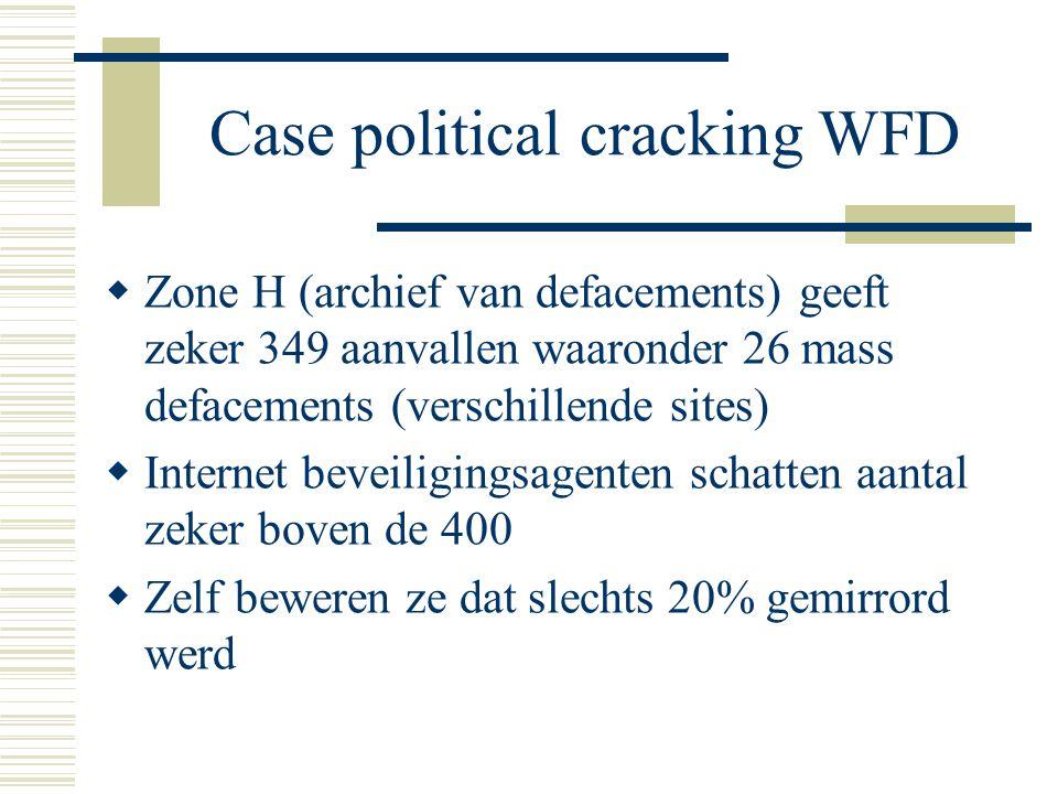 Case political cracking WFD  Zone H (archief van defacements) geeft zeker 349 aanvallen waaronder 26 mass defacements (verschillende sites)  Internet beveiligingsagenten schatten aantal zeker boven de 400  Zelf beweren ze dat slechts 20% gemirrord werd