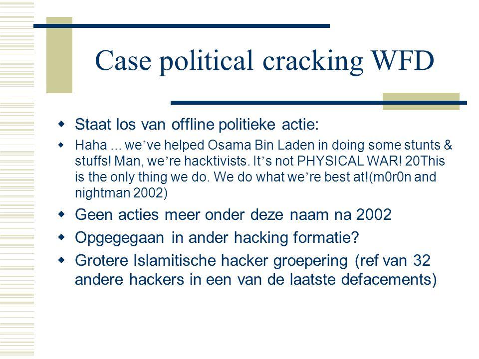 Case political cracking WFD  Staat los van offline politieke actie:  Haha...