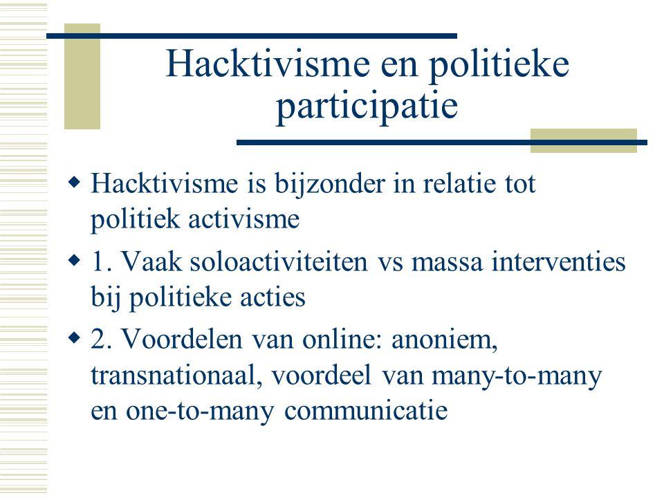 Hacktivisme en politieke participatie  Hacktivisme is bijzonder in relatie tot politiek activisme  1. Vaak soloactiviteiten vs massa interventies bi