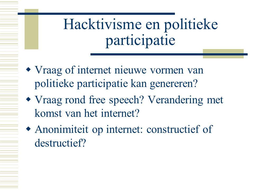 Hacktivisme en politieke participatie  Vraag of internet nieuwe vormen van politieke participatie kan genereren?  Vraag rond free speech? Veranderin