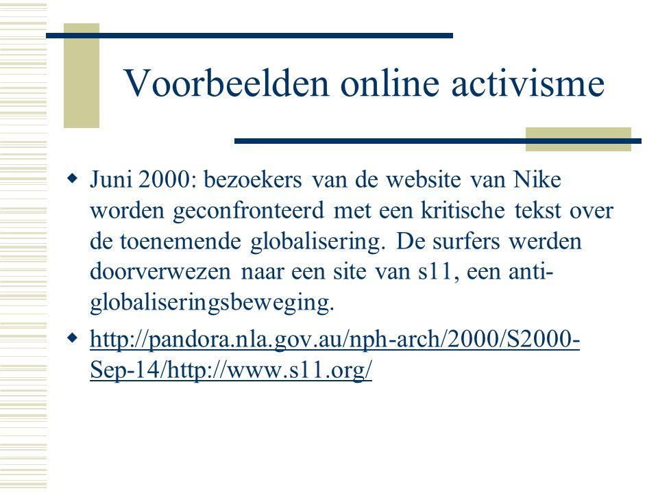  Juni 2000: bezoekers van de website van Nike worden geconfronteerd met een kritische tekst over de toenemende globalisering. De surfers werden doorv