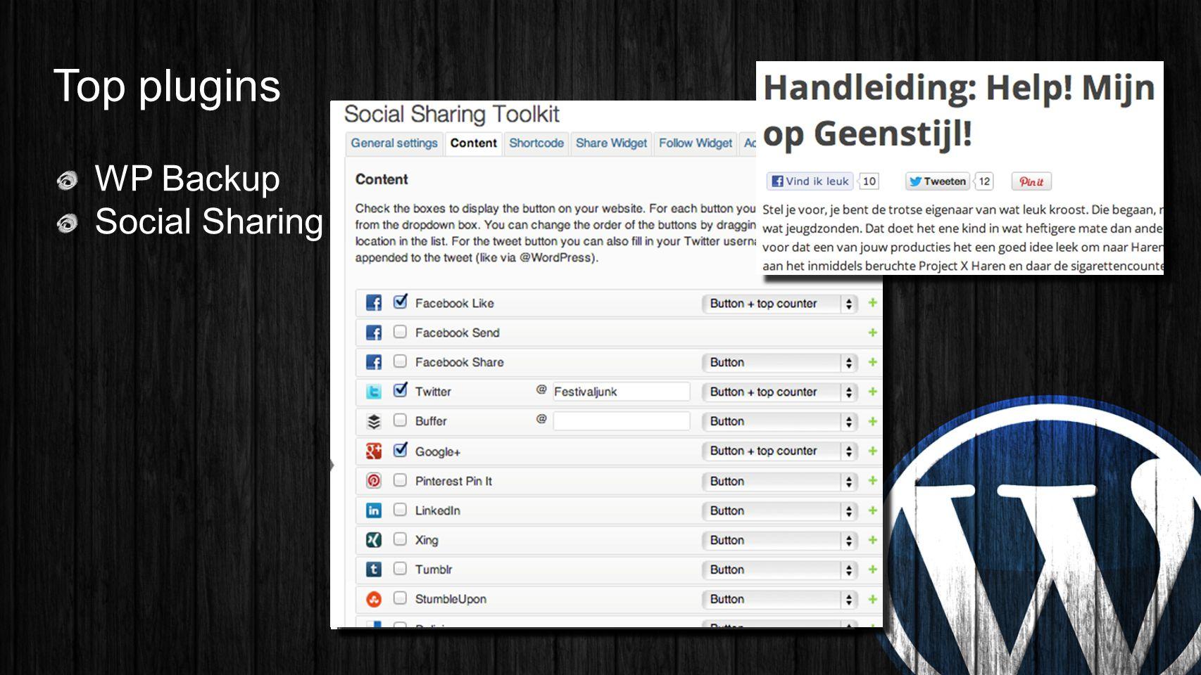 Top plugins WP Backup Social Sharing