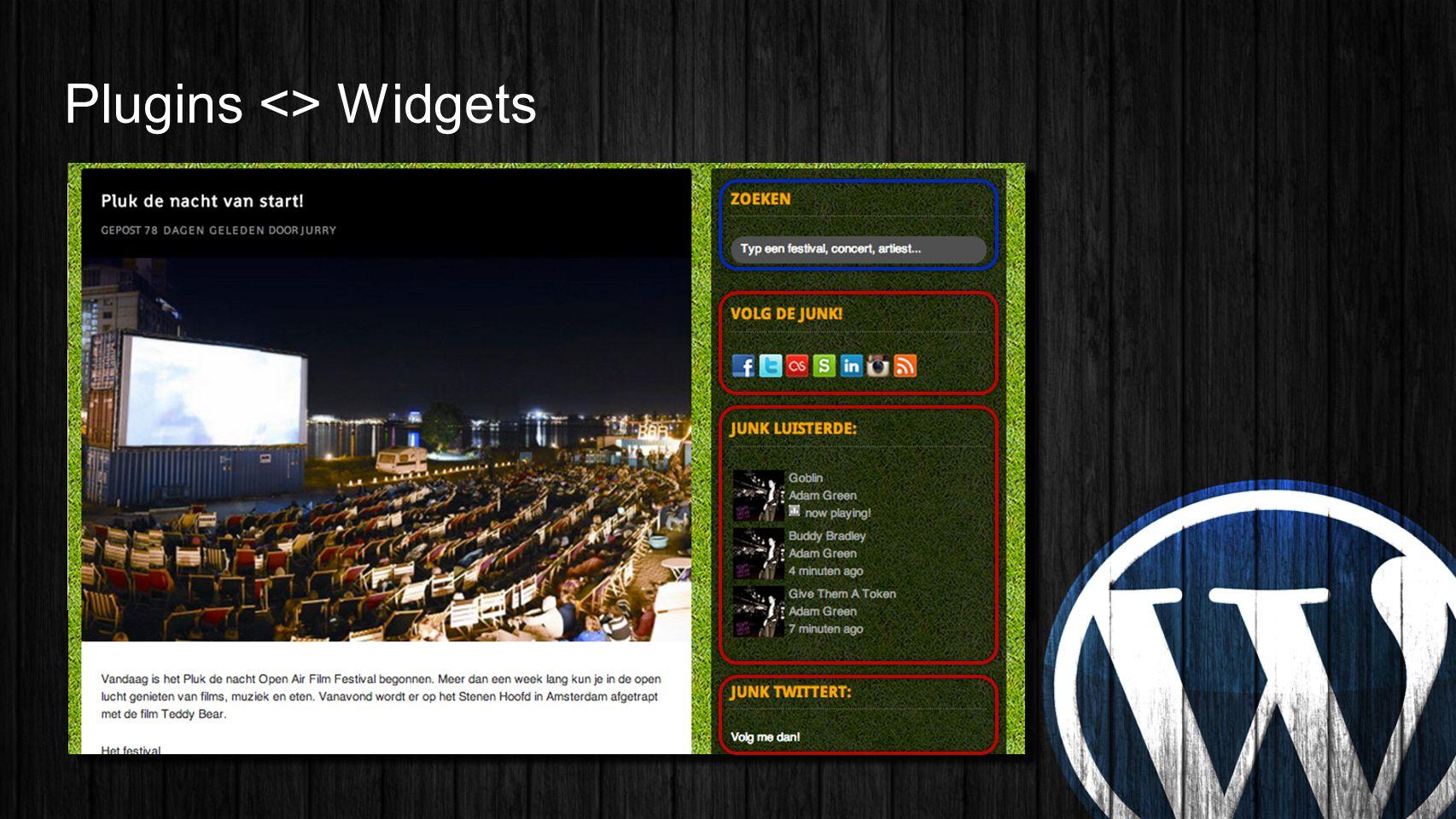 Plugins <> Widgets