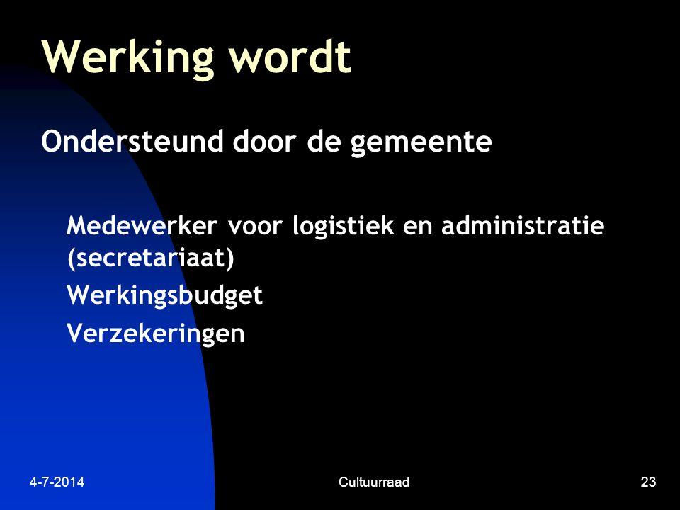 4-7-2014Cultuurraad23 Werking wordt Ondersteund door de gemeente Medewerker voor logistiek en administratie (secretariaat) Werkingsbudget Verzekeringen