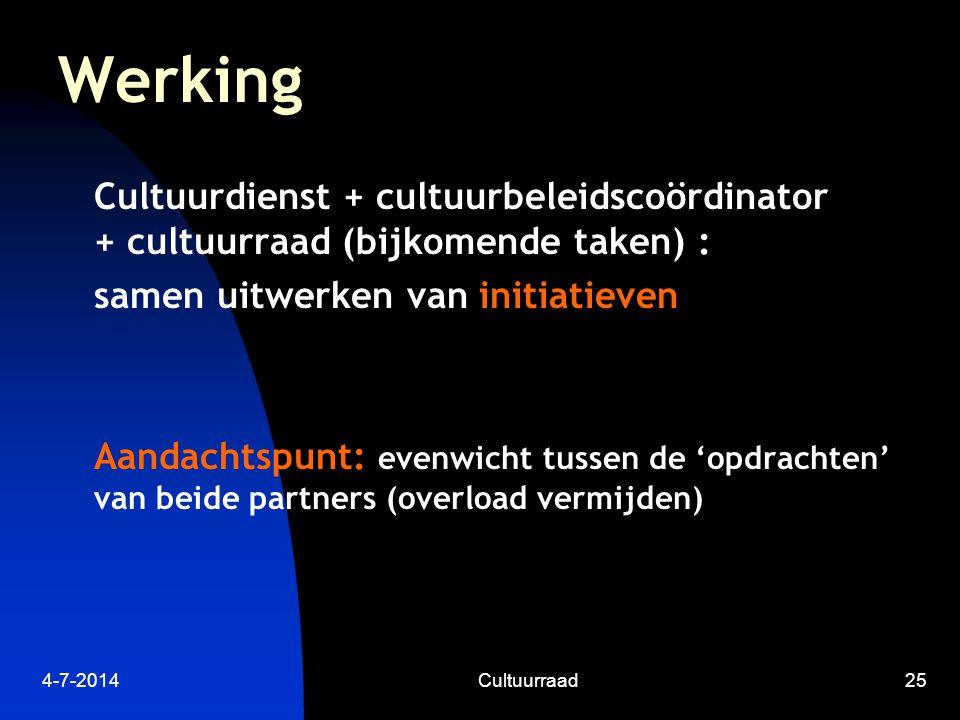 4-7-2014Cultuurraad25 Werking Cultuurdienst + cultuurbeleidscoördinator + cultuurraad (bijkomende taken) : samen uitwerken van initiatieven Aandachtspunt: evenwicht tussen de 'opdrachten' van beide partners (overload vermijden)