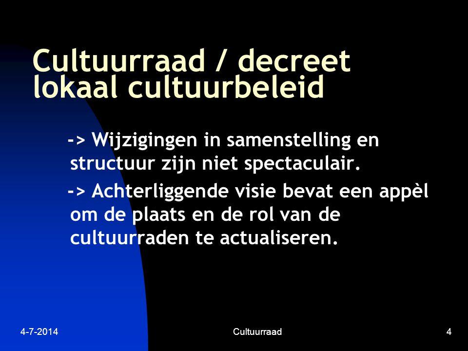 4-7-2014Cultuurraad4 Cultuurraad / decreet lokaal cultuurbeleid -> Wijzigingen in samenstelling en structuur zijn niet spectaculair.