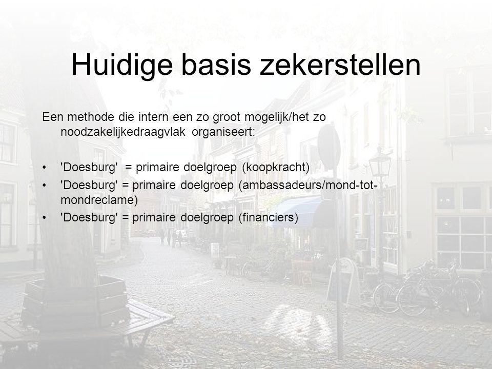 Huidige basis zekerstellen Een methode die intern een zo groot mogelijk/het zo noodzakelijkedraagvlak organiseert: • Doesburg = primaire doelgroep (koopkracht) • Doesburg = primaire doelgroep (ambassadeurs/mond-tot- mondreclame) • Doesburg = primaire doelgroep (financiers)