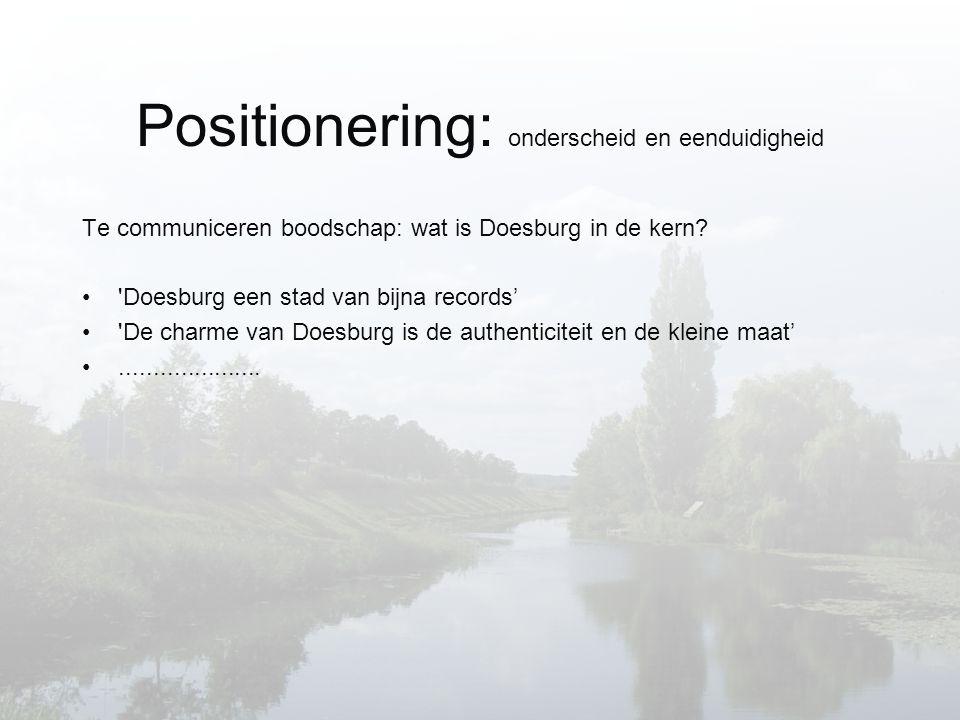 Positionering: onderscheid en eenduidigheid Te communiceren boodschap: wat is Doesburg in de kern.