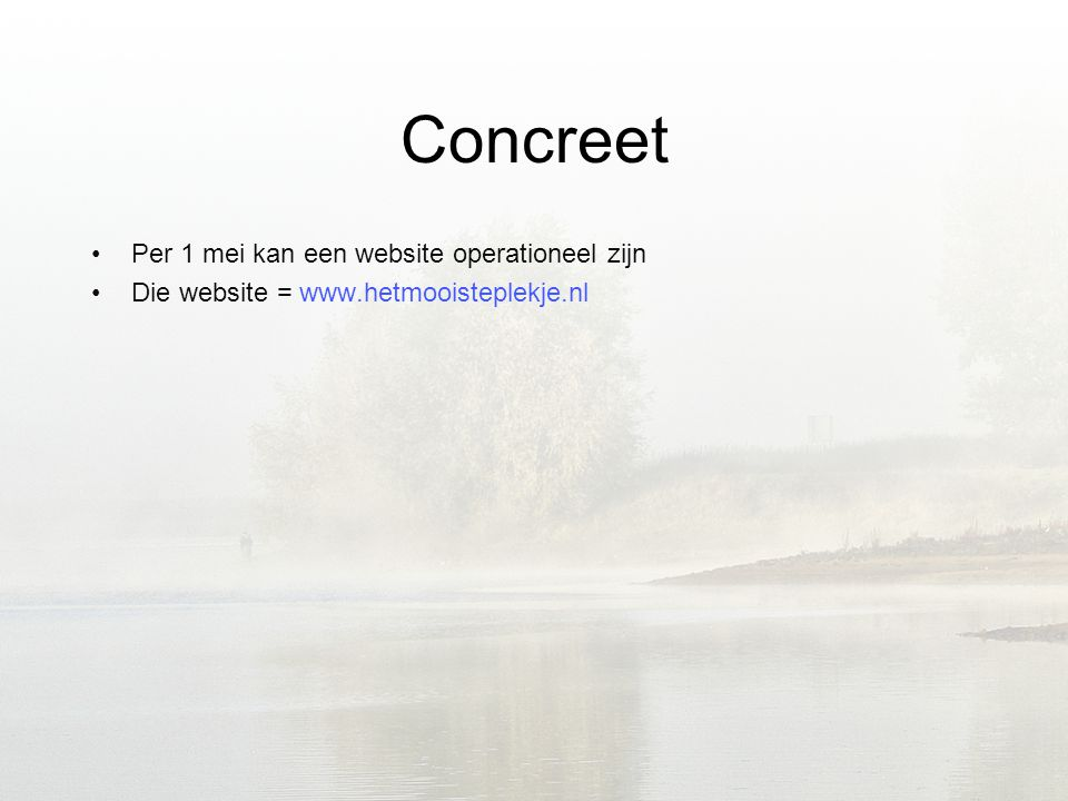 Concreet •Per 1 mei kan een website operationeel zijn •Die website =