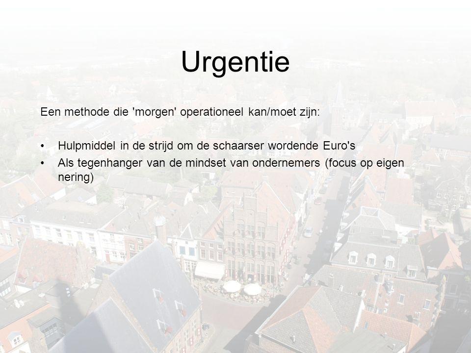 Urgentie Een methode die morgen operationeel kan/moet zijn: •Hulpmiddel in de strijd om de schaarser wordende Euro s •Als tegenhanger van de mindset van ondernemers (focus op eigen nering)