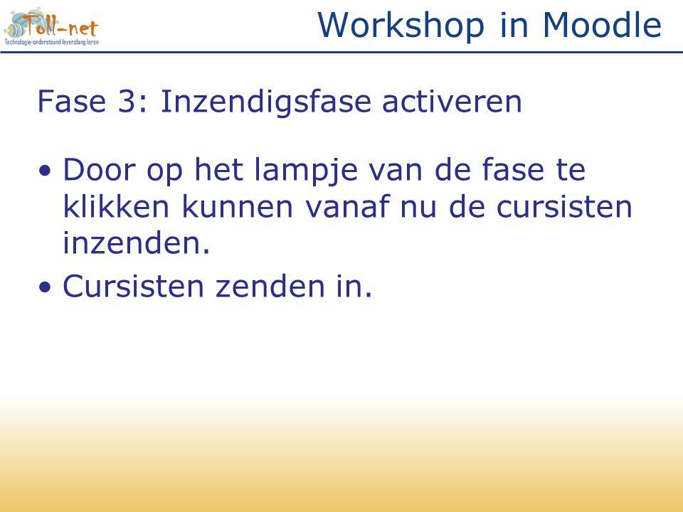 Workshop in Moodle Fase 3: Inzendigsfase activeren •Door op het lampje van de fase te klikken kunnen vanaf nu de cursisten inzenden. •Cursisten zenden