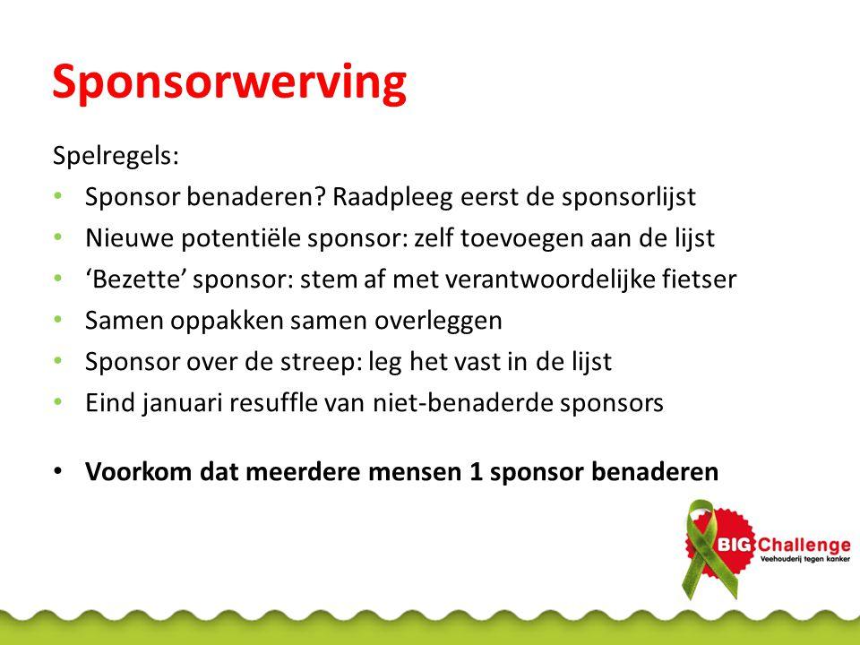 Spelregels: • Sponsor benaderen.