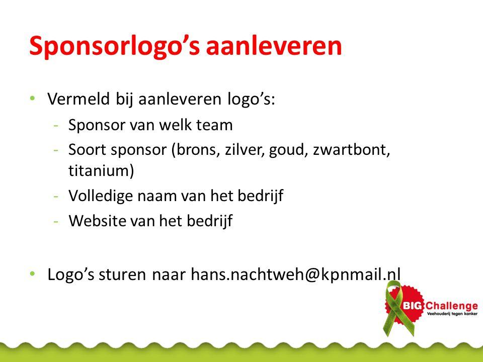 Sponsorlogo's aanleveren • Vermeld bij aanleveren logo's: -Sponsor van welk team -Soort sponsor (brons, zilver, goud, zwartbont, titanium) -Volledige naam van het bedrijf -Website van het bedrijf • Logo's sturen naar hans.nachtweh@kpnmail.nl