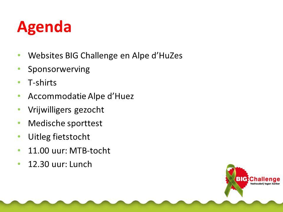 Agenda • Websites BIG Challenge en Alpe d'HuZes • Sponsorwerving • T-shirts • Accommodatie Alpe d'Huez • Vrijwilligers gezocht • Medische sporttest • Uitleg fietstocht • 11.00 uur: MTB-tocht • 12.30 uur: Lunch